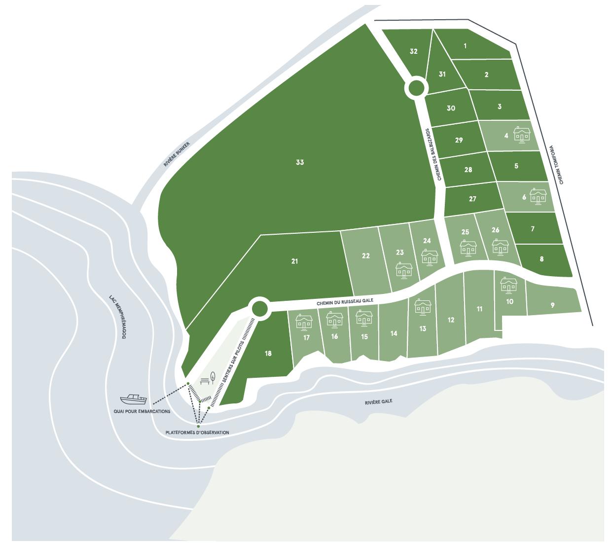 carte terrains memphré magog sur le lac